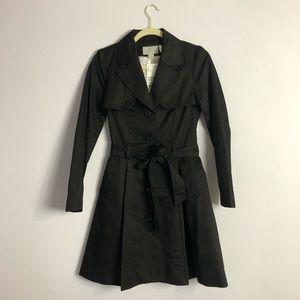 Black Flared Trench Coat